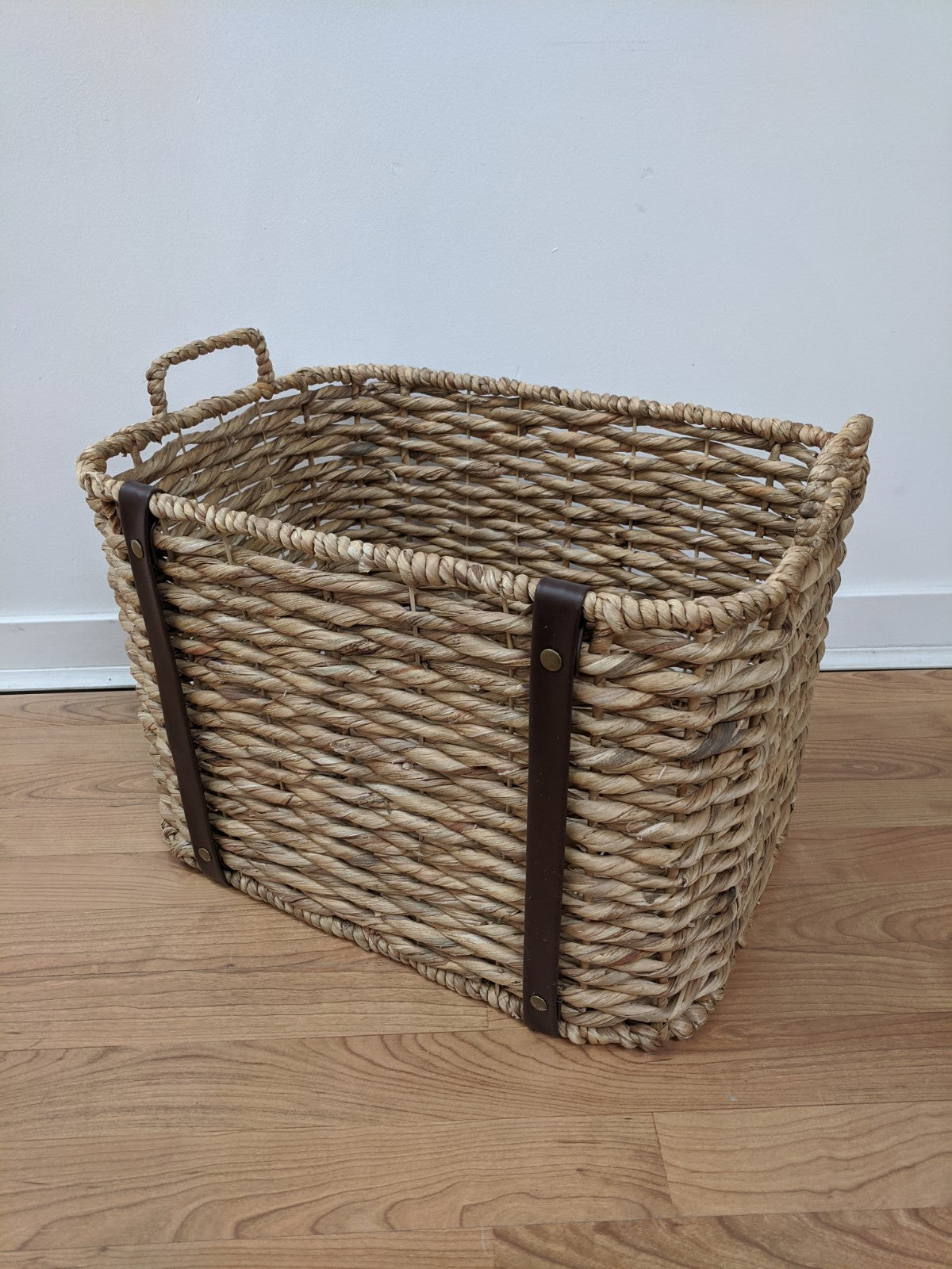 Woven Basket with Leather Straps