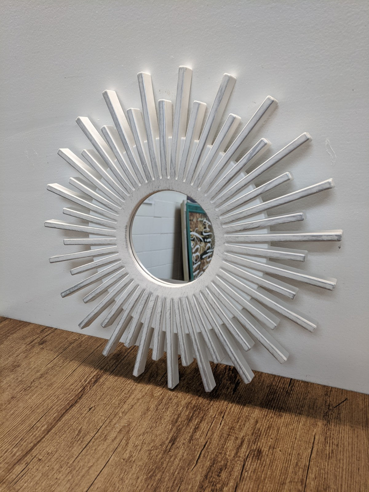 White Plastic Starburst Mirror