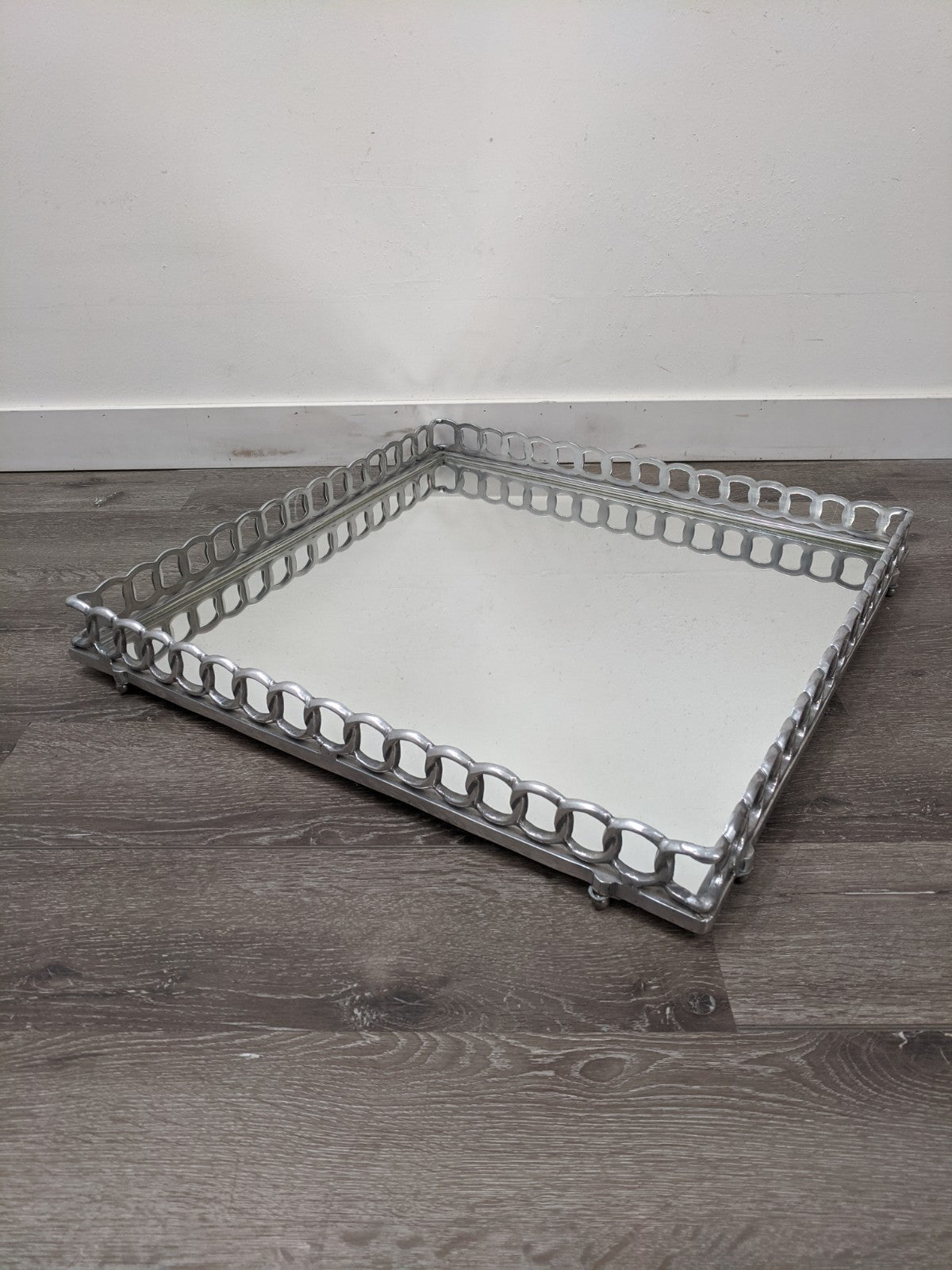 Silver Square Mirror Tray