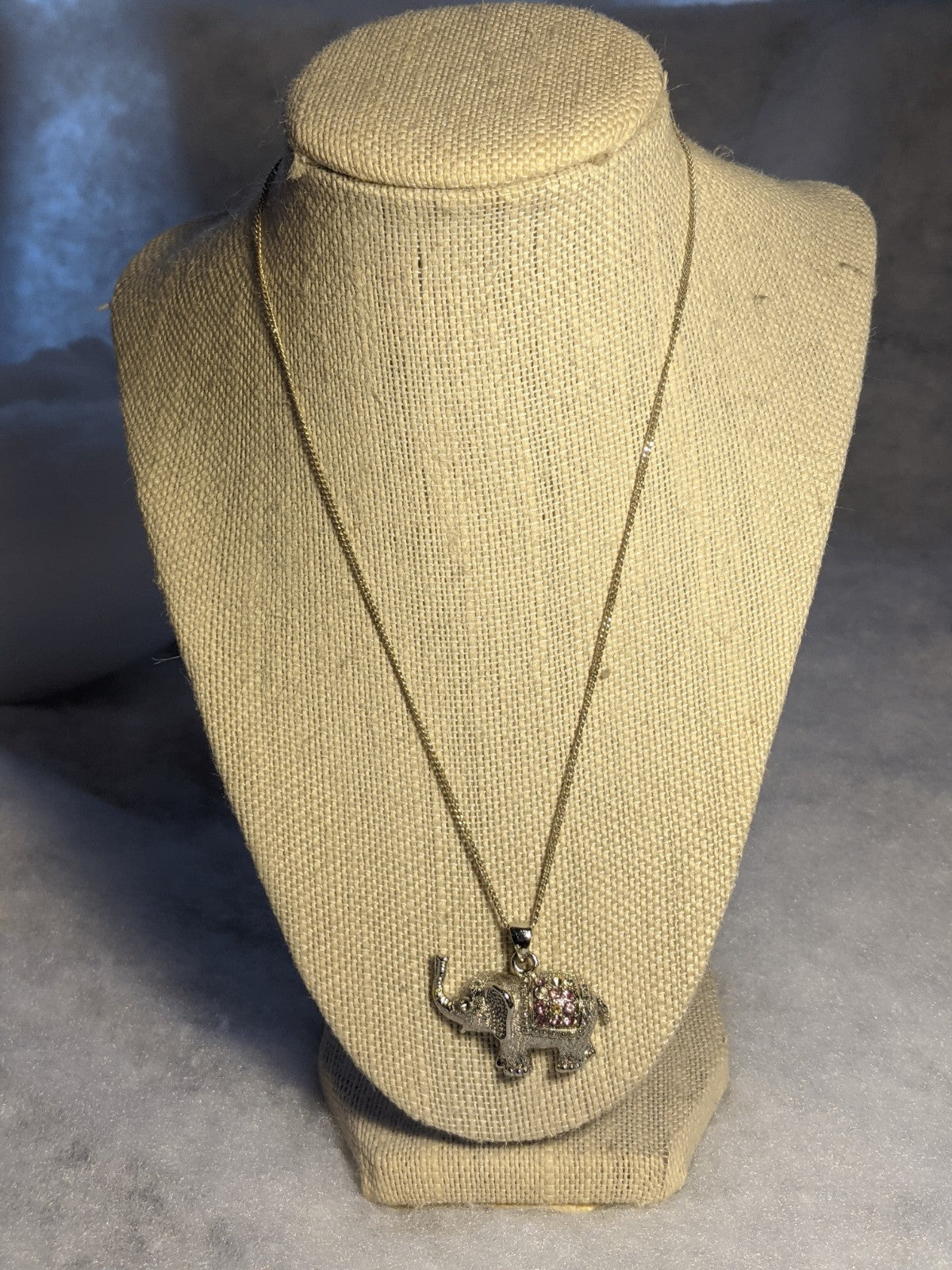 Silver Colored and Pink Stone Elephant Necklace