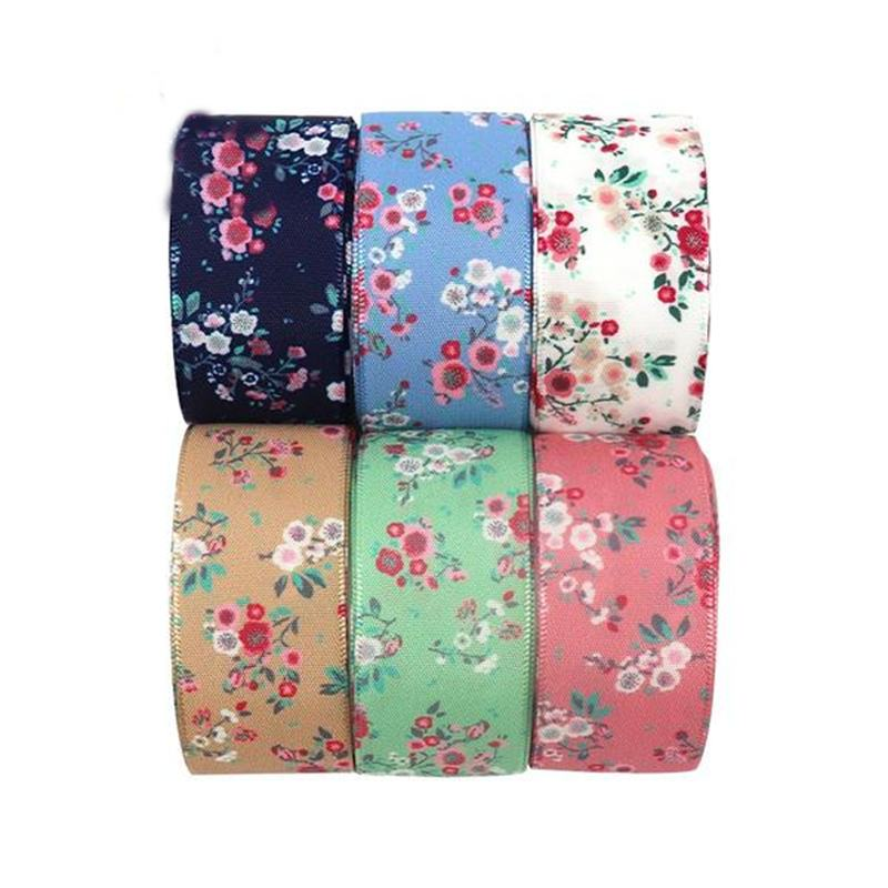 Flower Printed Satin Ribbon Handcrafts