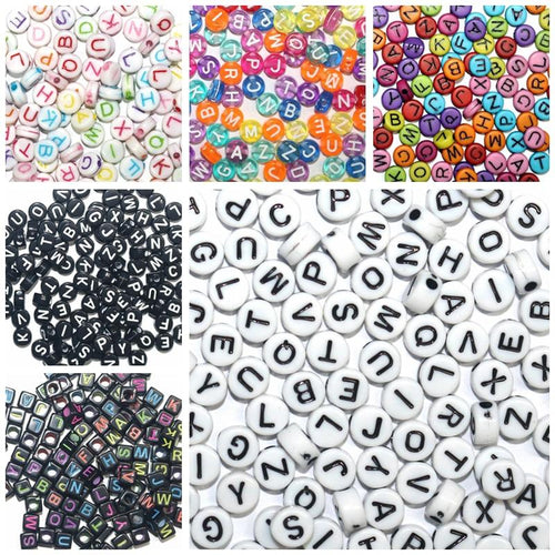 Round, Square Acrylic   Alphabet Letter Beads