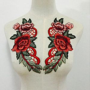 2pcs/Set Rose Flower Embroidery Patches