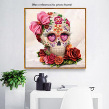 Load image into Gallery viewer, Diamond Painting Cross Stitch Flower Skull