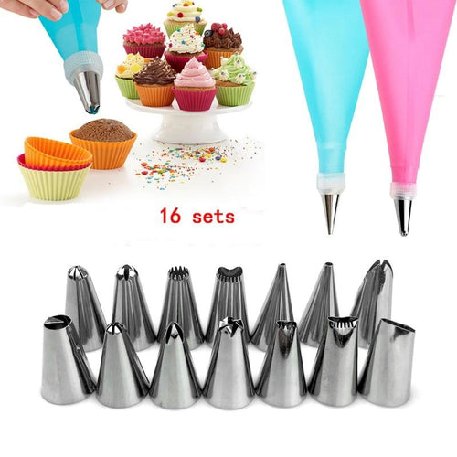 16 Pcs/Set Silicone Icing Piping Cream Pastry Bag + Stainless Steel Nozzle