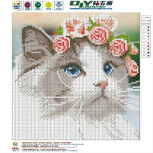 Load image into Gallery viewer, 5-D Diamond Mosaic Animal Cat, Owl Diamond Cross Stitch