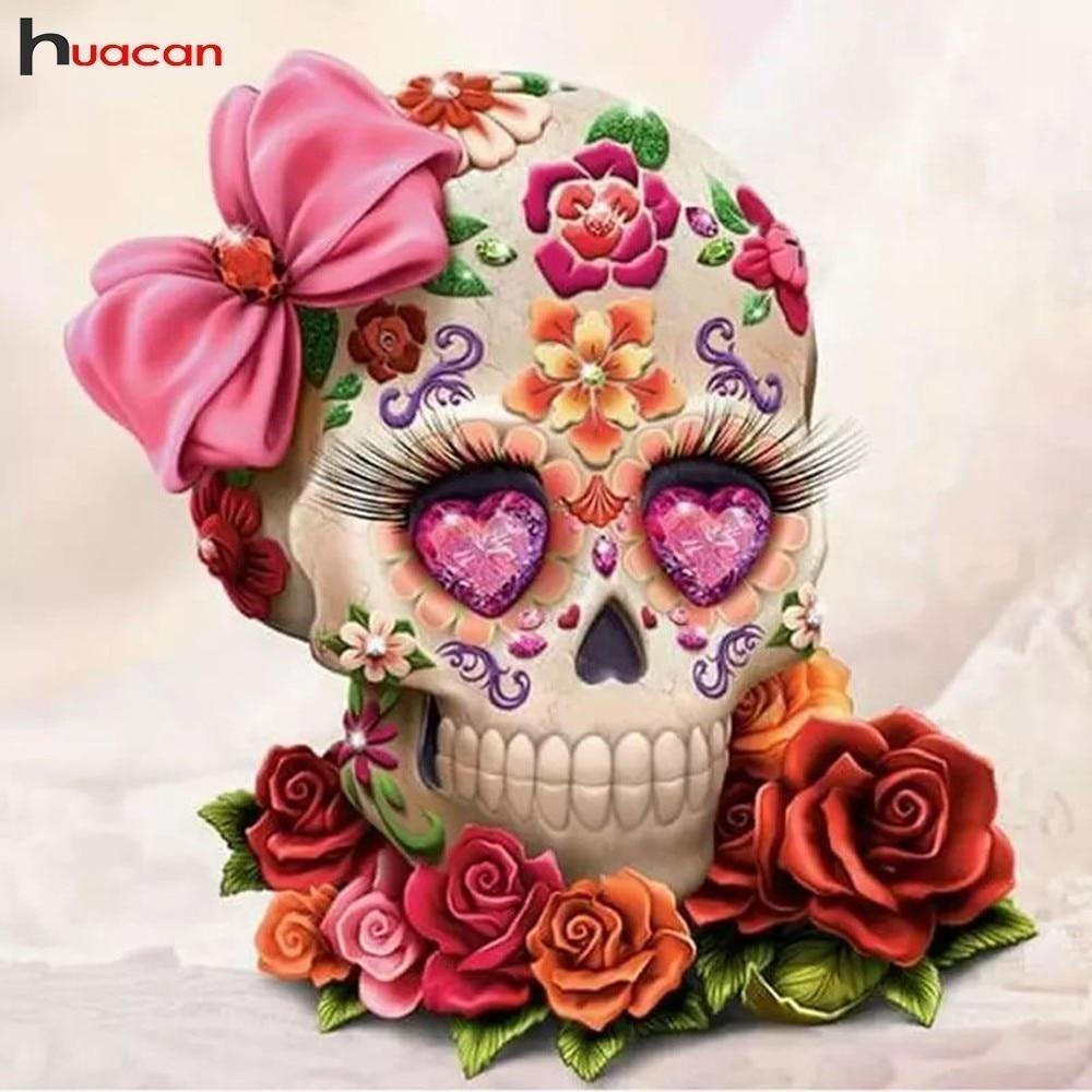 Diamond Painting Cross Stitch Flower Skull