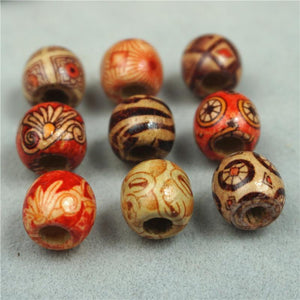 200pcs 12mm Natural Painted Wood Beads