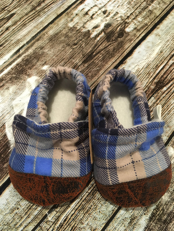 Blue/Tan Plaid with Leather Toe (9-12 months)