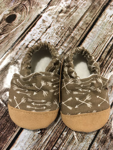 Taupe-Arrows with Tan Suede Toe (9-12 months)