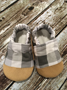 Gray Plaid with Tan Suede Toe (9-12 months)
