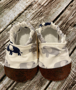 White with Gray and Navy Elephants (12-18 months)