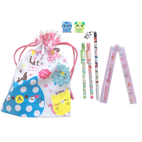 "Ltd. Pop Cutie Japanese Pen Bag Gift Set ""Kittens"""