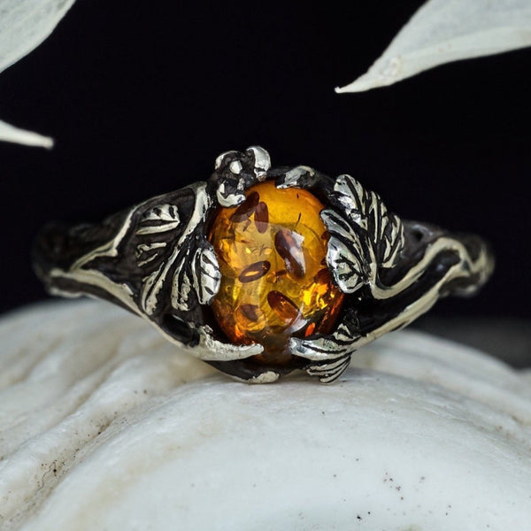 "Amber Engagement Ring ""Daisy"""