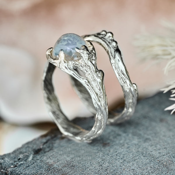 "Moonstone ring set ""Ariel"" from the side"