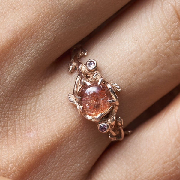 "Rose Engagement Ring with Sunstone ""Grace"""