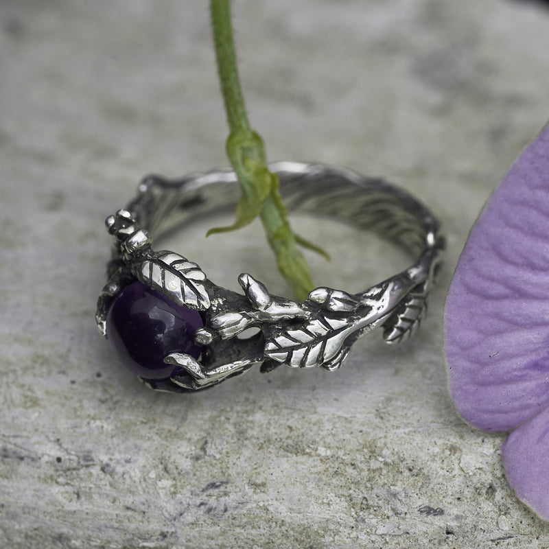 Amethyst flowers ring