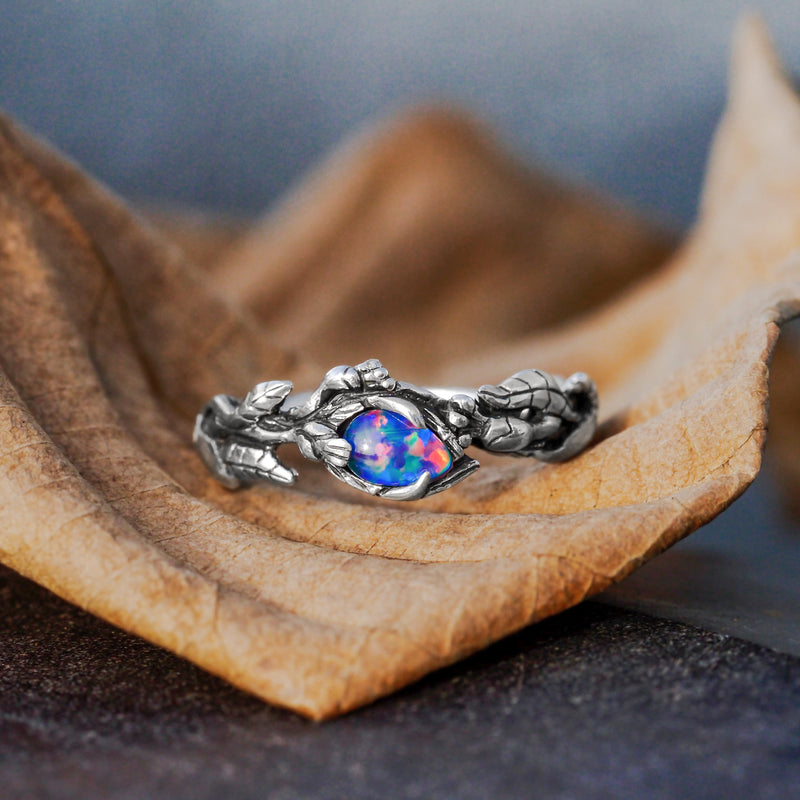 Sterling Silver ring with Boulder Fire Opal
