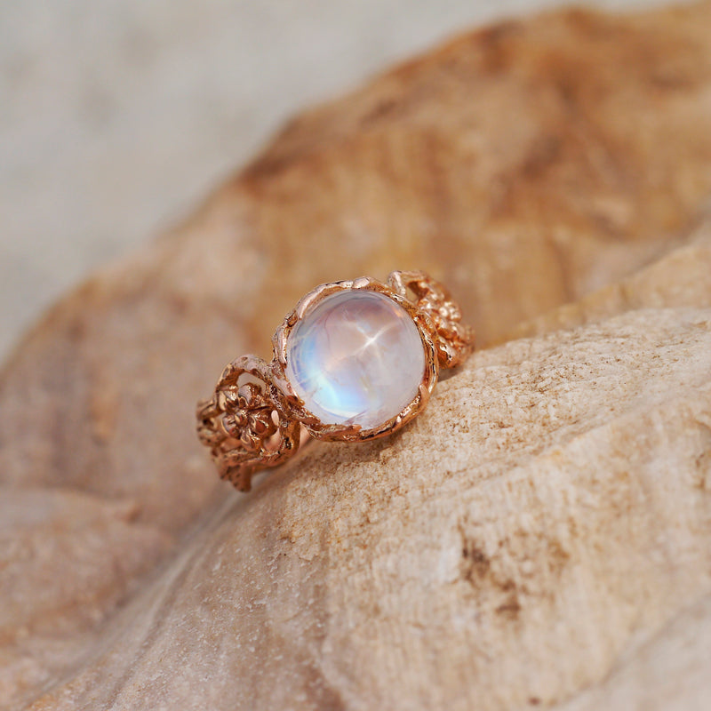 "Moonstone Engagement Ring in 14K Rose Gold ""Fleur"""