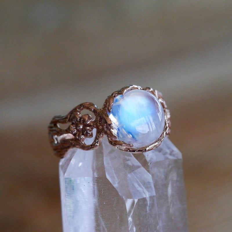 14K Gold Moonstone Engagement Ring