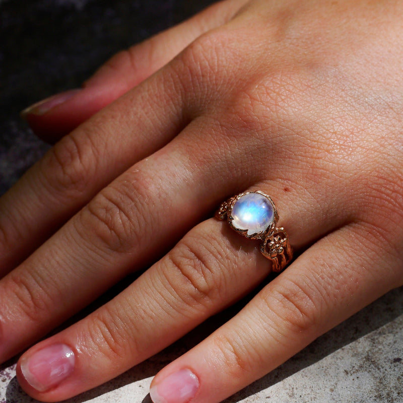 Engagement Gold Ring with Moonstone Fleur