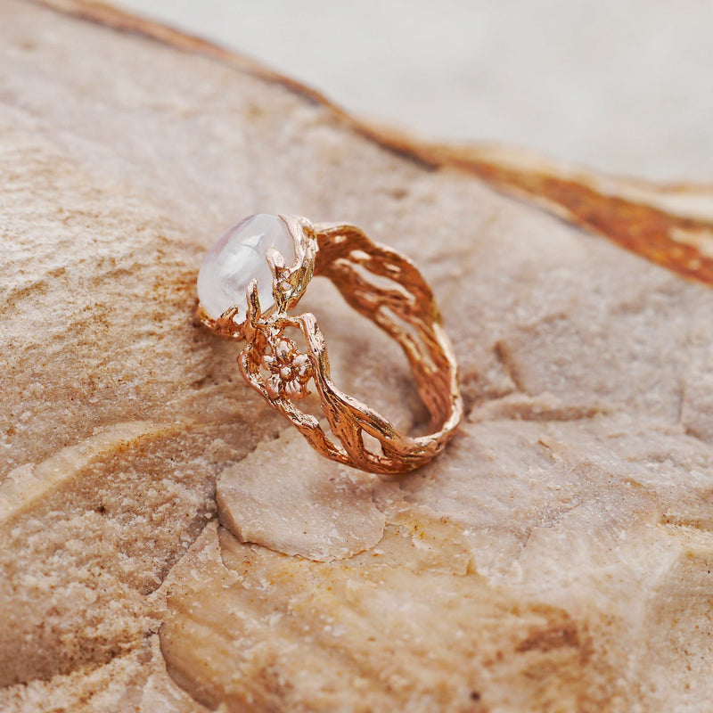 Engagement 14K Gold Ring with Moonstone