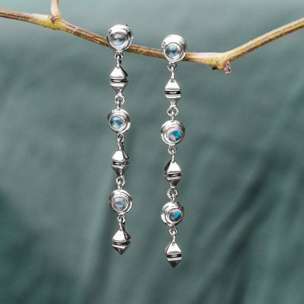 "Sterling Silver Dangling Earrings with Moonstones ""Milky Way"" - blacktreelab"