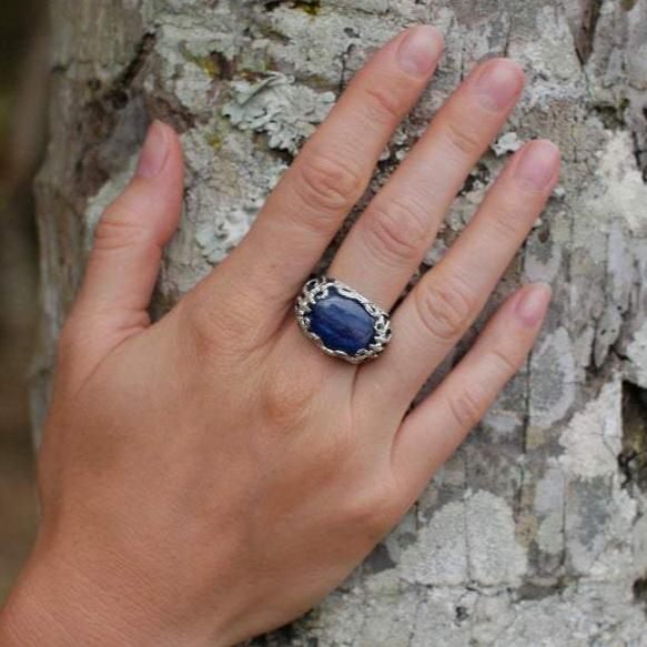"Kyanite Ring Sterling Silver, Blackened Silver ring ""Auxesia"""