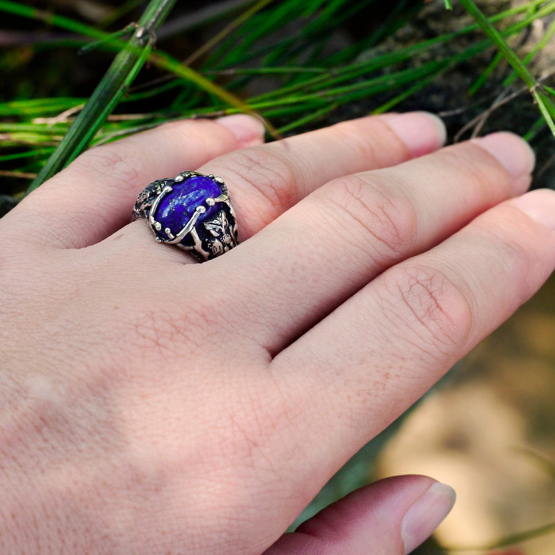 Sterling Silver Owl ring with Lapis Lazuli