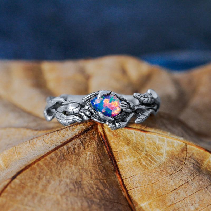 "Floral ring with Boulder Fire Opal ""Liane"""