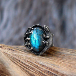 "Labradorite Sterling Silver Ring ""Sauria"""