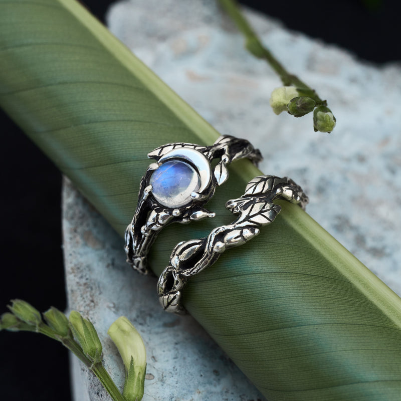 "Moonstone Engagement rings set ""Luna"" and matching wedding band"