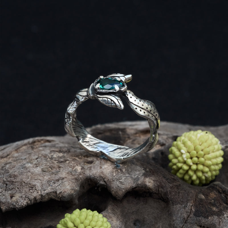 "Green Amethyst Ring ""Astrid"""