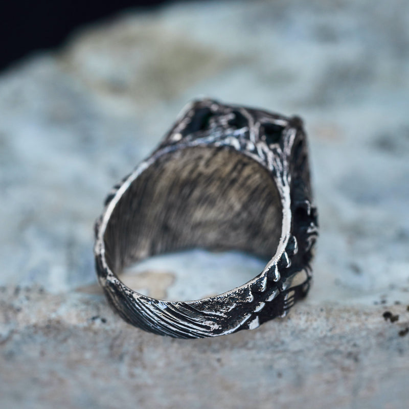 Silver mens ring Dragon