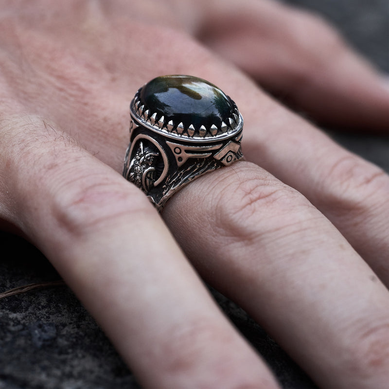 "Men's ring with Labradorite ""Owl"""