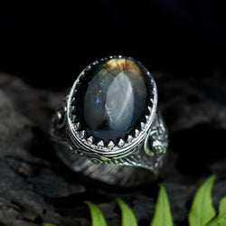 "Labradorite men's ring ""Owl"""