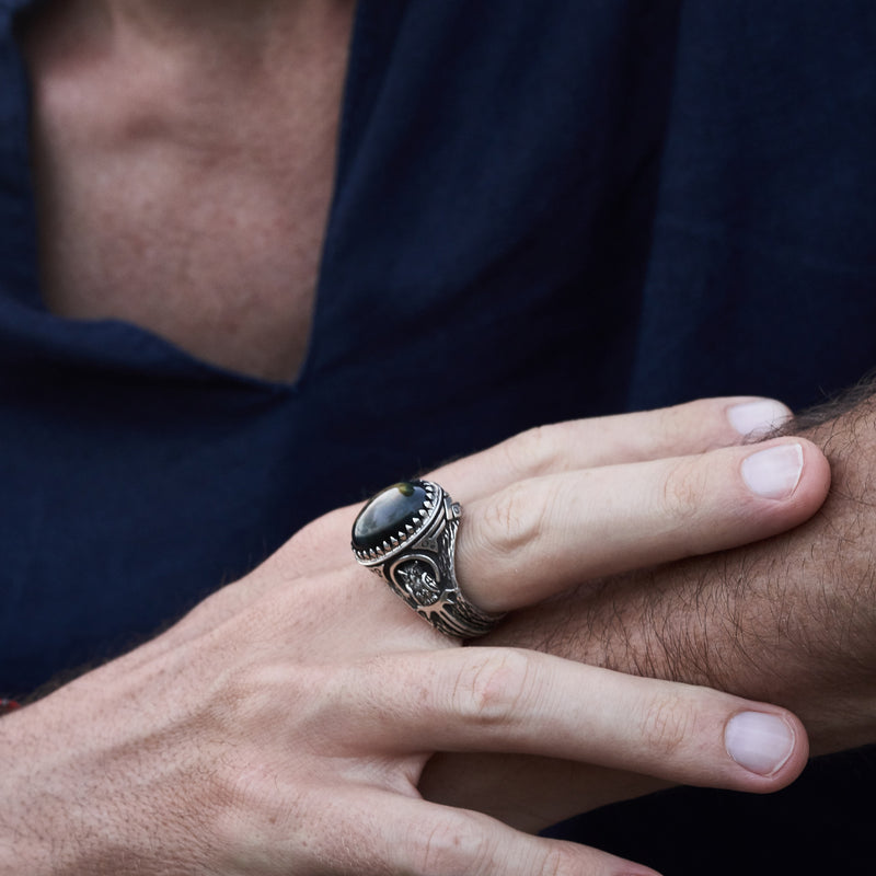 "Men's ring with Labradorite ""Owl"" on hand"