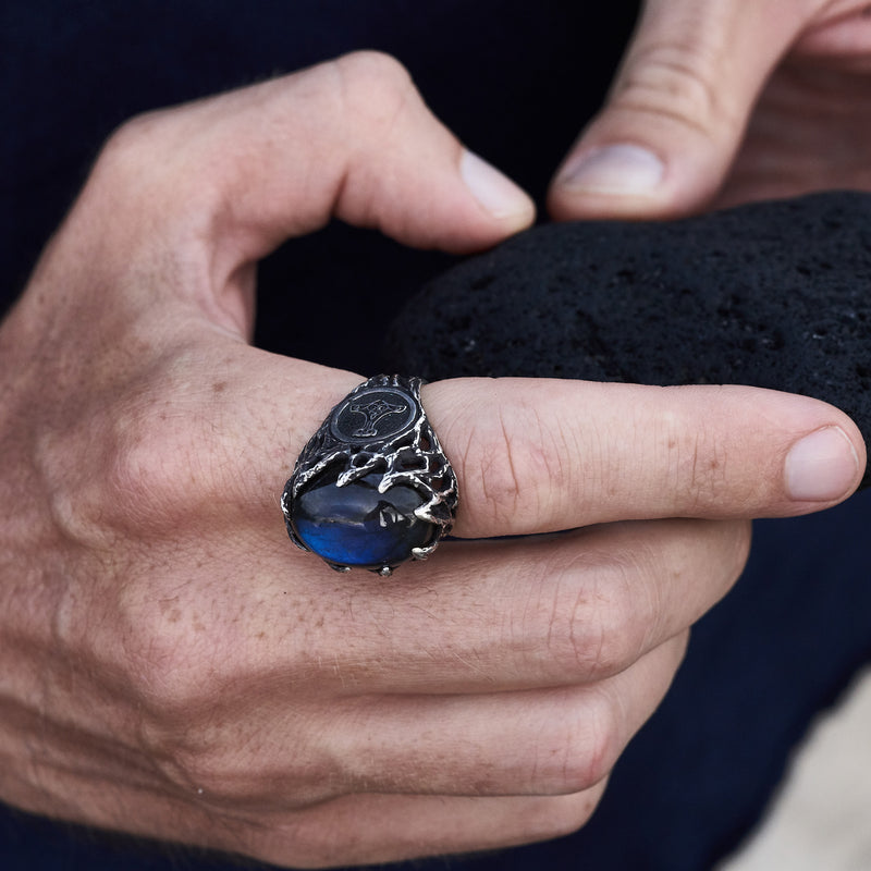 "Viking ring ""Thor's hammer"" with labradorite"