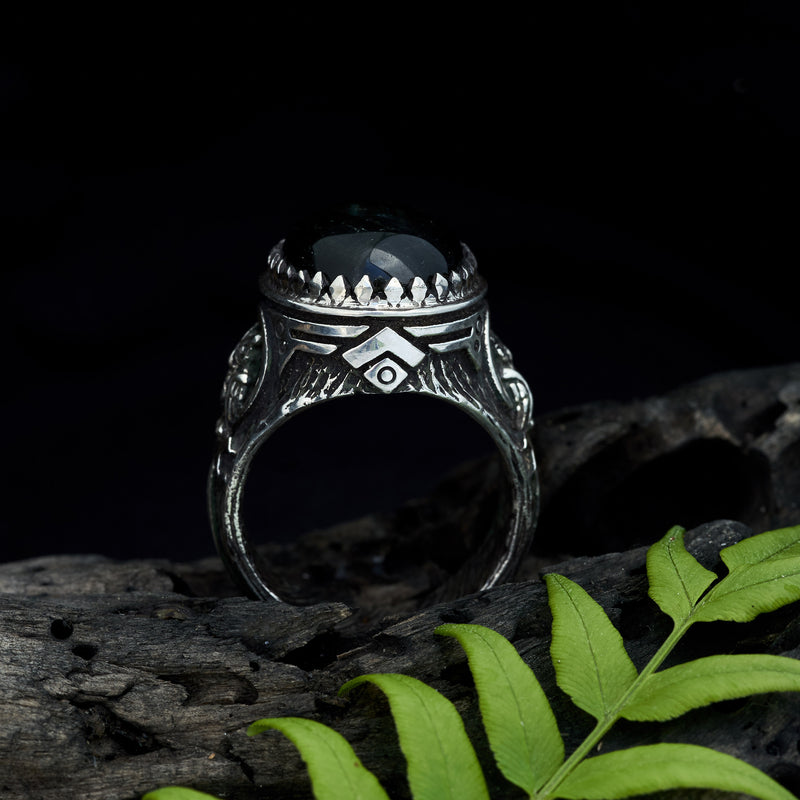 "Men's ring owl ring with Labradorite ""Owl"""