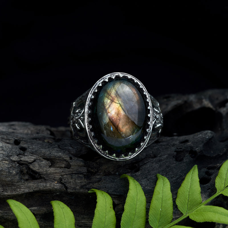 "Mens ring with Labradorite ""Owl"""