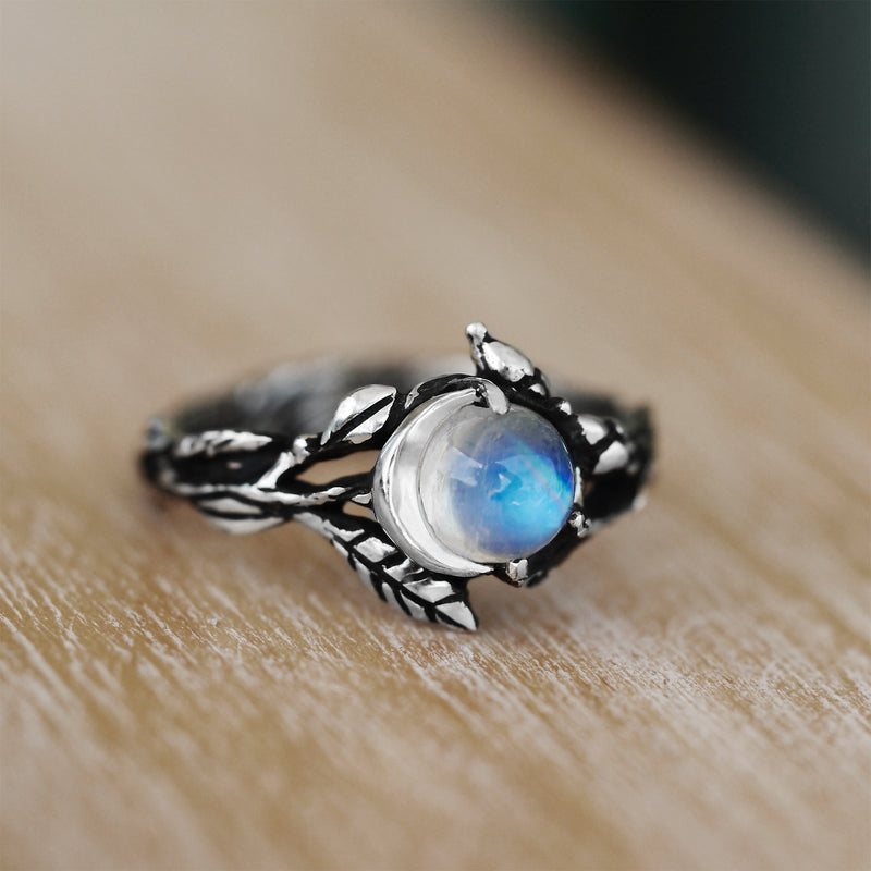 "Designer Sterling Silver Moonstone Ring ""Luna"""