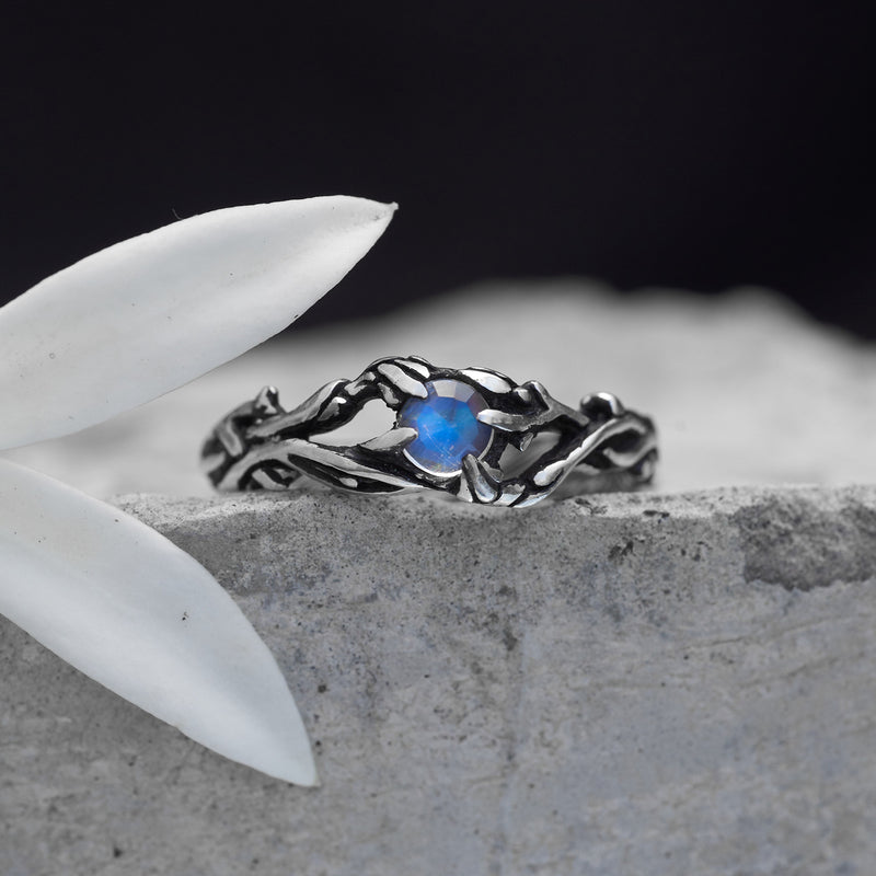 Moonstone engagement ring with leaves