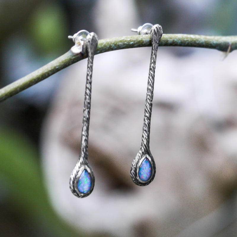 "Boulder opal earrings ""The Cherry Orchard"" - blacktreelab"