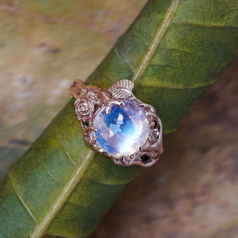 "Rainbow Moonstone 14 Gold Engagement Ring ""Cleo"" - blacktreelab"