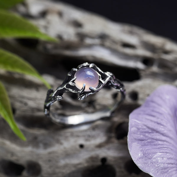 Rose Quartz engagement ring with flowers