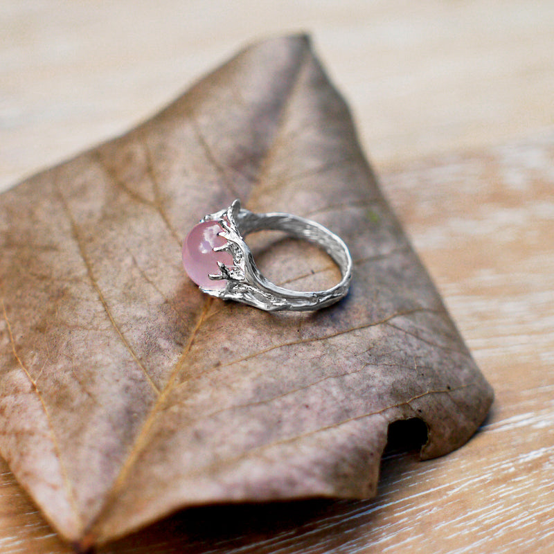 "Rose Quartz  Engagement Silver Ring ""Cleo"""