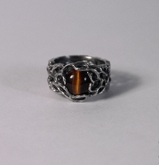 "Men's Sterling Silver Twig ring ""Ussuri"" with Tiger's Eye"