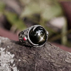 """Aurora"" Sterling Silver Indian Black Star Diopside Ring with Garnet - blacktreelab"