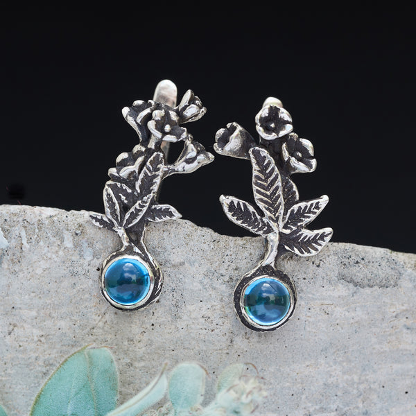 "Swiss Blue Topaz Earrings ""Lyra"""