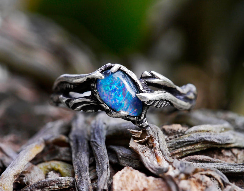 "Boulder Fire Opal Ring ""Eden"" - blacktreelab"